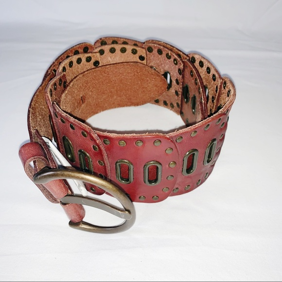 Fossil Accessories - Fossil Studded Leather Belt in Hipster Brown